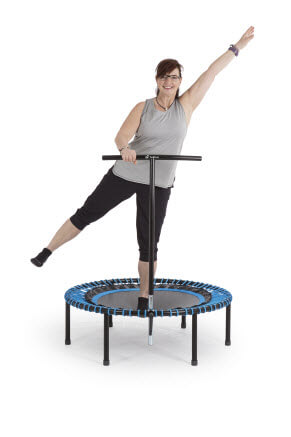 overweight woman trampoline workout
